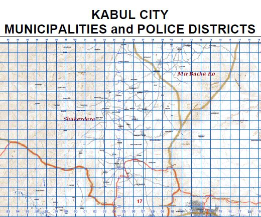 Kabul City Municipalities and Police Districts (60 Cm × 90 Cm)