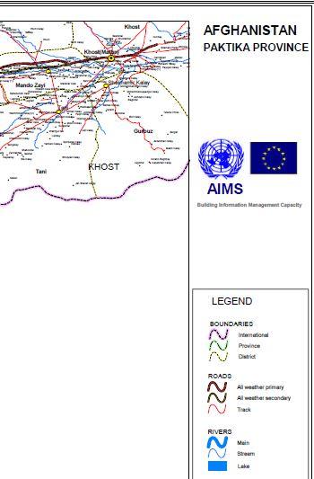 Afghanistan Paktika Province Map (60 Cm × 90 Cm) | SHAH M BOOK CO