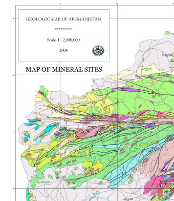 Geologic Map of Afghanistan: Map of Mineral Sites (60 Cm × 90 Cm ...