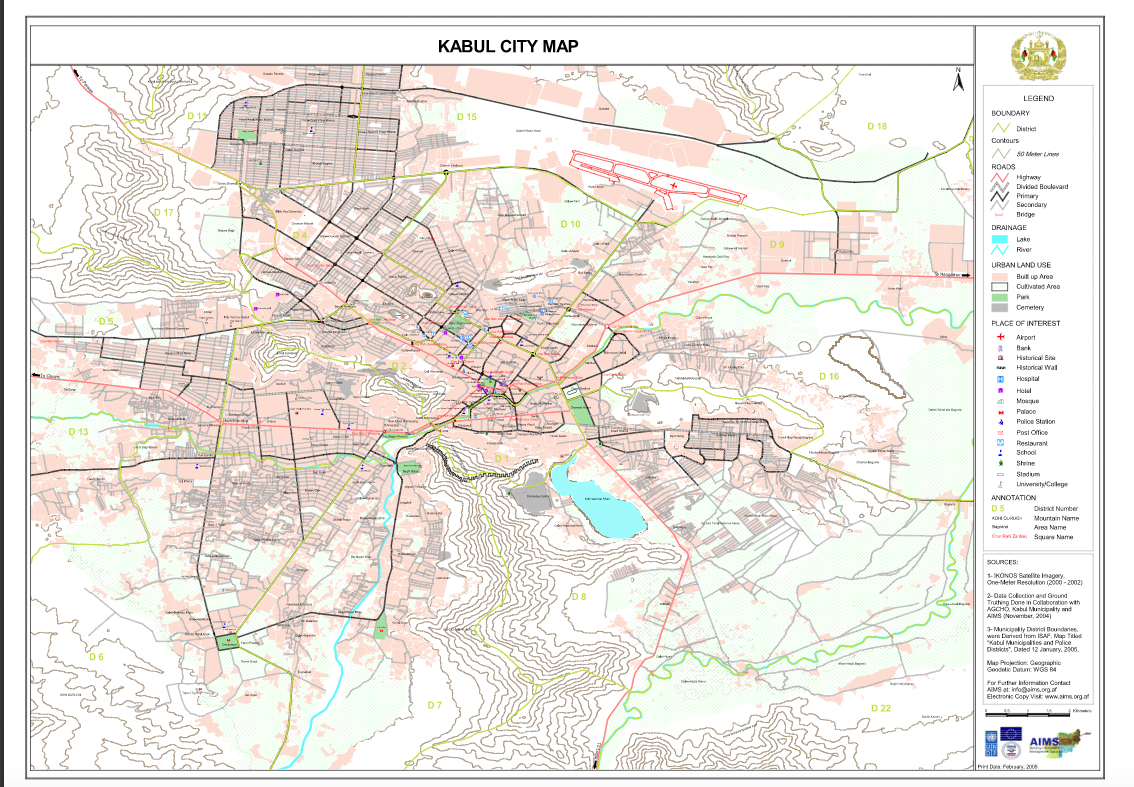 Kabul City Map SHAH M BOOK CO