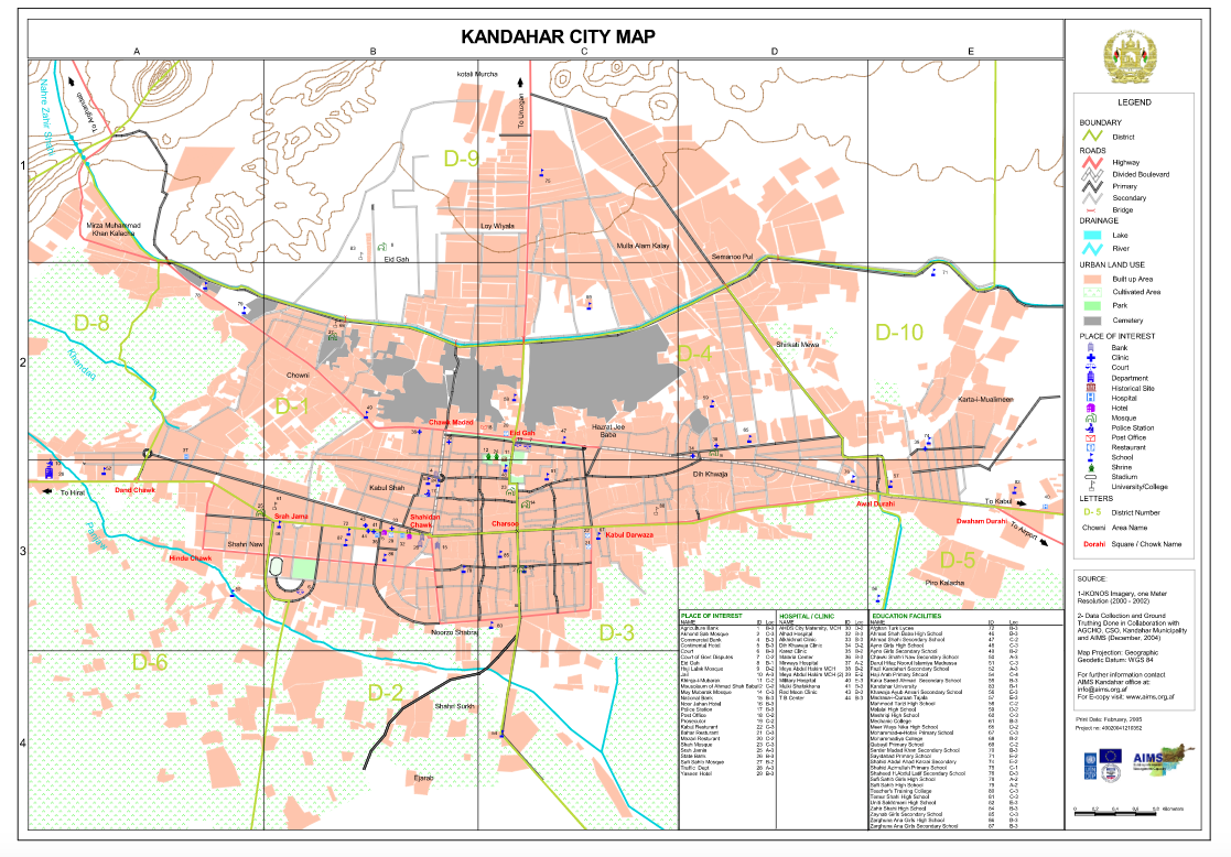 Kandahar City Map SHAH M BOOK CO