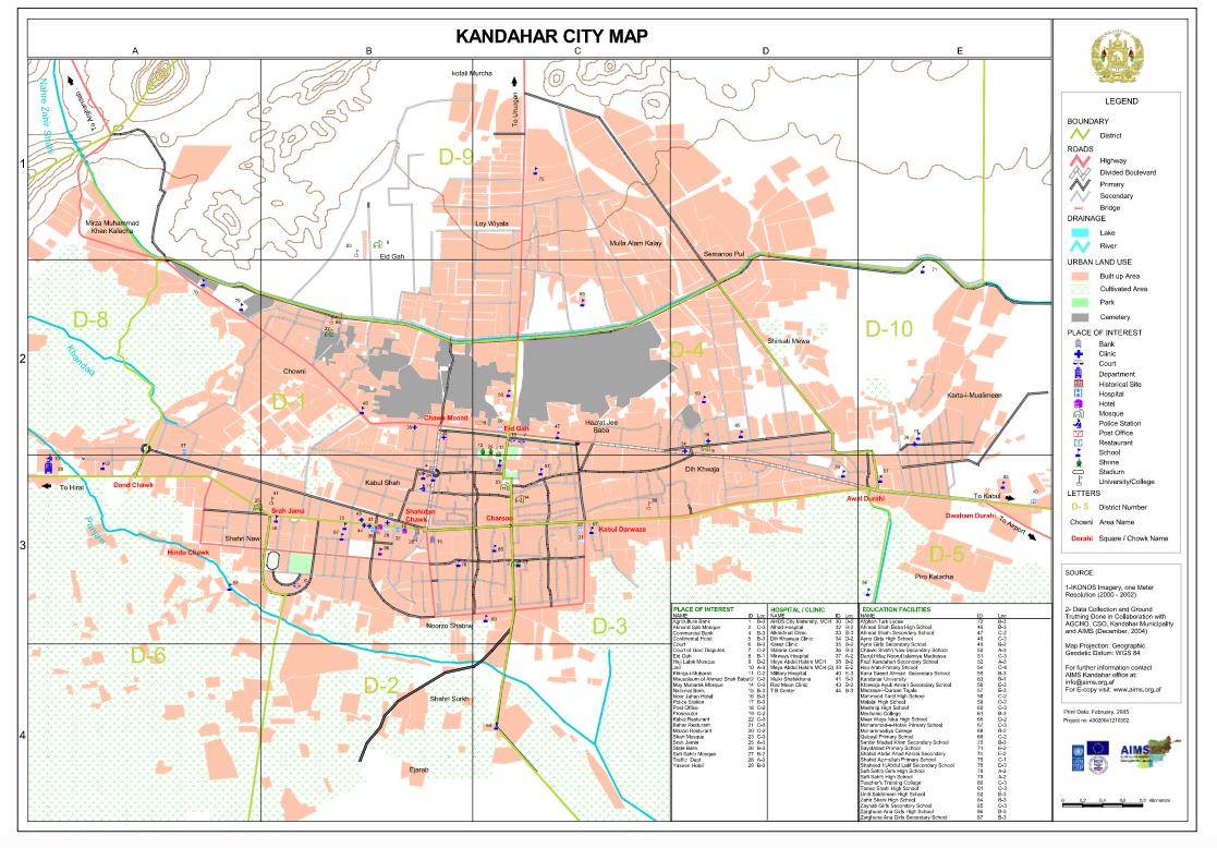 Kandahar City Map SHAH M BOOK CO